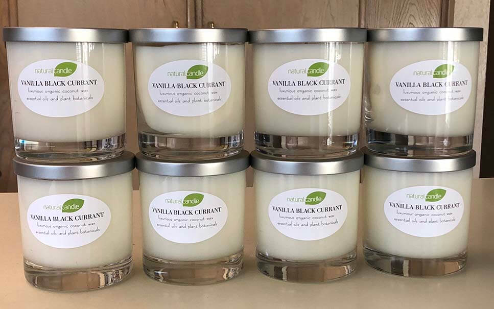 eight luxury natural candles with coconut wax blend